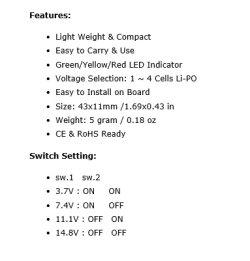 画像2: GWS/オンボードインジケータ(LiPo 1〜4 セル電圧メータ)